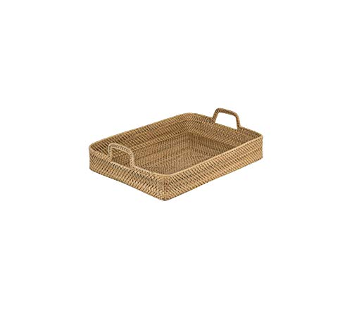 Home Décor Premium Laguna Rectangular Rattan High Wall Serving Tray Natural Storage Durable Strong Decorative