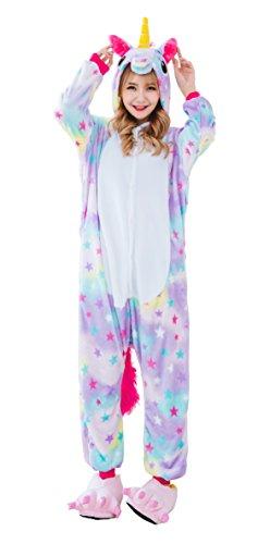 Dingwangyang Adult Unicorn Pajamas Animal Costume Cosplay Onesie Kigurumi Halloween Gift Star Pegasus S