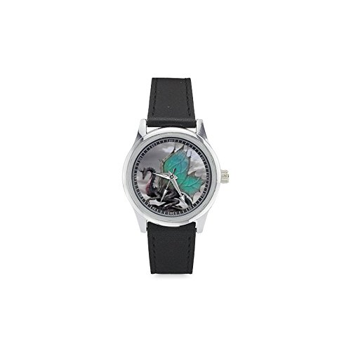 Birthday/Christmas Day Gift Green Dragon Kid's Leather Strap Watch (Leather Dragon Green)