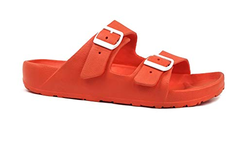 REDVOLUTION Women's Comfort Slides Double Buckle Adjustable Soft EVA Footbed Sandals (S(5-6), 8749 Orange)
