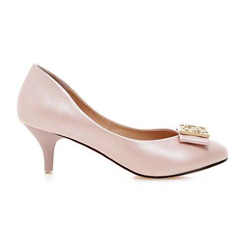 Damen Ziehen auf Rund Zehe Mittler Absatz PU Rein Pumps Schuhe, Pink, 34 AgooLar