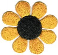 Daisy Flower - Yellow with Black Center - Embroidered Sew or