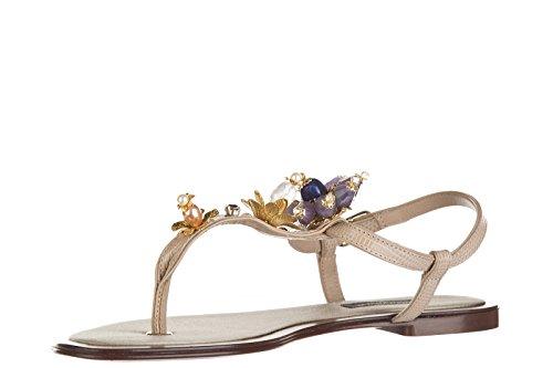 Dolce&Gabbana infradito donna in pelle stromboli stampa iguana vernice beige