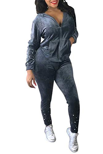 Adogirl Women Velour 2 Piece Outfit Beaded Tracksuit Hood Zip Up Jacket Pants Set Gray L