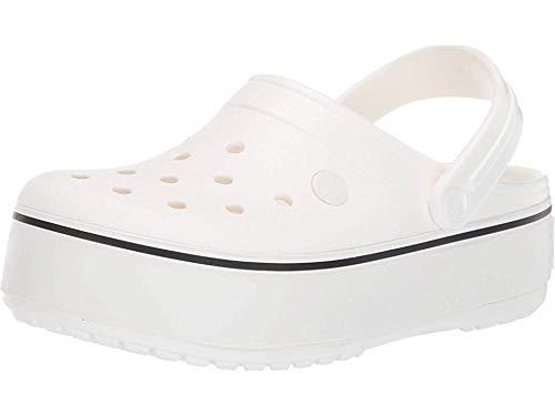 Crocs Girls' Crocband Platform Clog, White/White, 5 M US Big Kid (5 Crocs Kids)