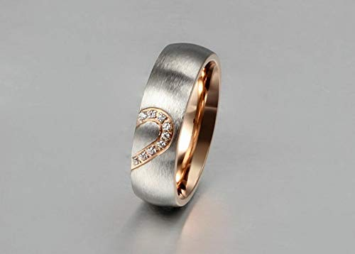 (Rhame Stainless Steel Women Men Love Heart Couple Band Ring Engagement Wedding Promise | Model RNG - 9363 | 15)
