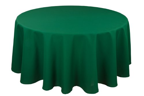 RIEGEL Permalux Cottonblend 90-Inch Round Tablecloth, Hunter Green