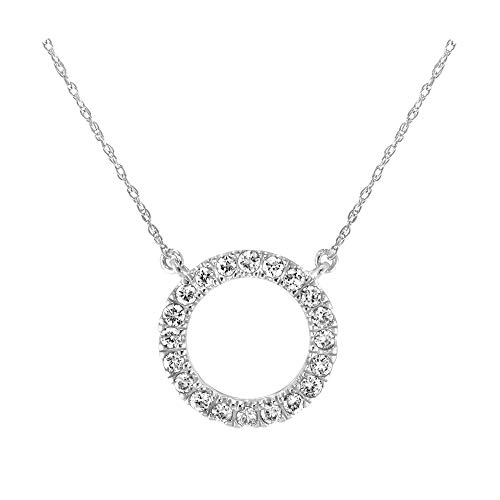 Diamond Prong Journey Pendant - Brilliant Expressions 10K White Gold 1/5 Cttw Conflict Free Diamond Circle Adjustable Pendant Necklace (I-J Color, I2-I3 Clarity), 16-18 inch