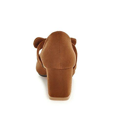 BalaMasa Womens Sandals Closed-Toe No-Closure Convertible-Strap High-Heel Cold Lining Nubuck Dress Urethane Urethane Sandals ASL04295 Brown hHB3QkQM7