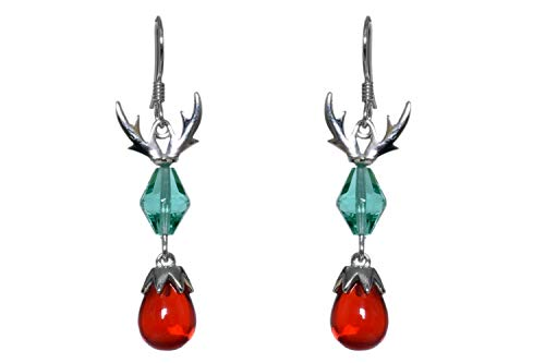 UTOPIA JAIPUR 925 Sterling Silver Red Glass & Pearl Earrings For Women Girls Dangle Drop Hook Earrings Silver Red & Blue Color Dangle Earrings