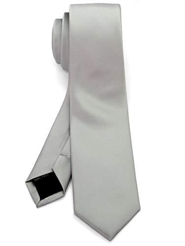 Solid Satin Stylish (WandM Men's Slim Skinny Tie Business Necktie width 2.4