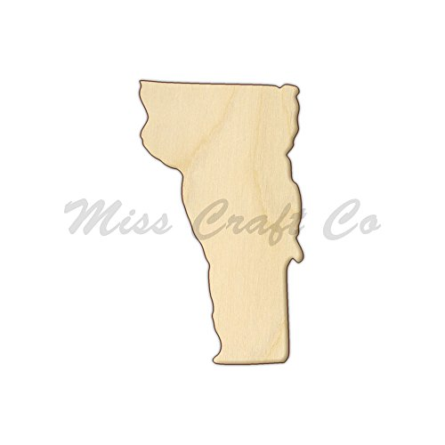 Vermont Wood Shape Cutout, Wood Craft Shape, Unfinished Wood, DIY Project. All Sizes Available, Small to Big. Made in the USA. 6 X 3.4 (Party Supplies Burlington)