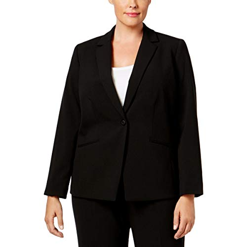 - Tahari by Arthur S. Levine Women's Plus Size Bi-Stretch One Button Jacket with Pinstripe Lining, Black, 24w
