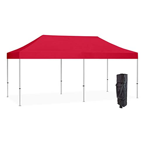 Vispronet Strong Instant 10ft x 20ft Red Canopy Tent Kit – Pop Up Tent – Steel Hex Frame – Water-Resistant 450D Canopy with Roller Bag and Stakes