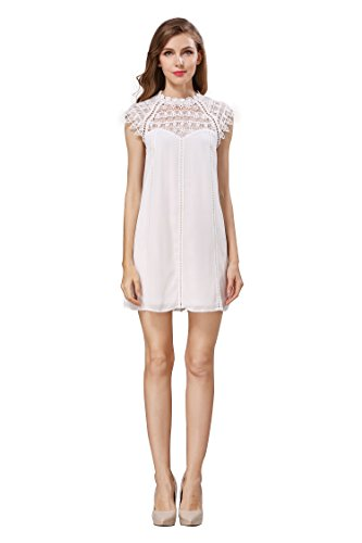Little Smily Women's Casual Loose Lace Splicing Chiffon Mini Babydoll Flared Dress, Off White, M