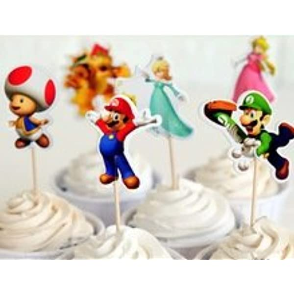 Super Mario Cupcake Toppers Birthday Party Supplies Favors Pack Of