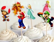 Super Mario Cupcake Toppers Birthday Party Supplies Favors Pack of 24]()
