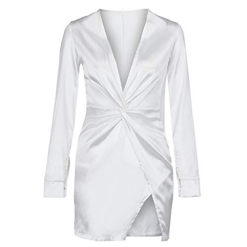 Cenglings Sexy Womens V-Neck Satin Bind Long Sleeve Zipper Ruched Mini Dress Bodycon Slit Evening High Split Dress White