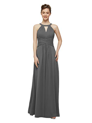 AW Steel Gray Bridesmaid Dress Chiffon Long Prom Formal Dress for Women Wedding Gown Evening Party Dress,US10