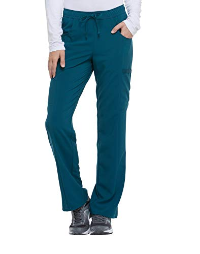 Dickies EDS Essentials Mid Rise Straight Leg Drawstring Scrub Pant, L Petite, Caribbean Blue from Dickies