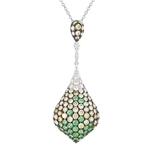 Aienid 2.93 Carat Multi Color Diamond Tsavorite 14K White Gold Necklace for Women 4.39G ()