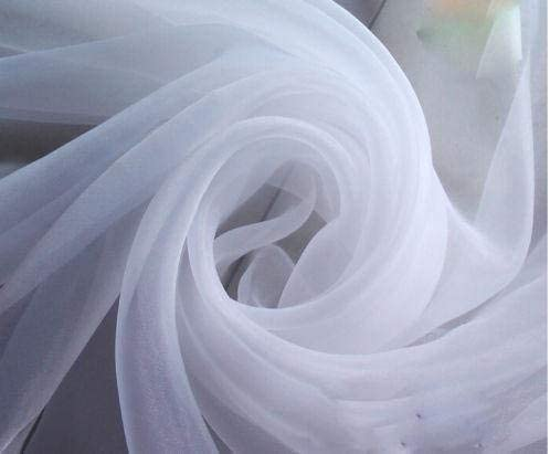 """120"""" Wide (10ft Wide) Sheer Voile Chiffon Fabric - Perfect for Draping Panels and Masking for Weddings & Events - White by The Yard (1 Yard) (1 Yard)"""