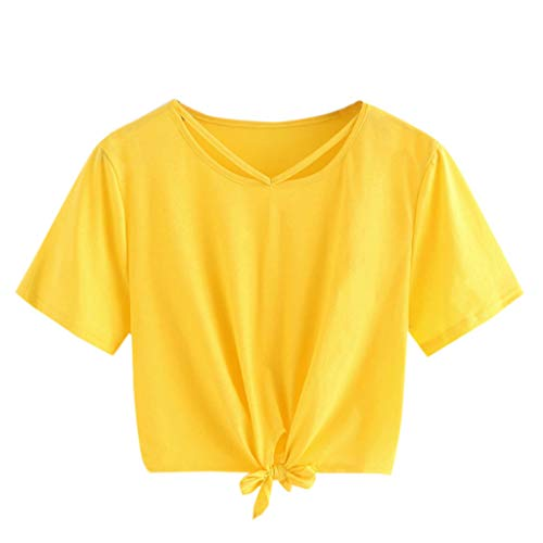 Women Teen Girl Crop Tops Cute Saturn Star Print Short Sleeve Fashion T Shirt Blouse (Yellow 2, S)]()