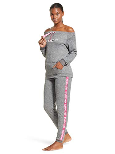 bebe Womens Off Shoulder Long Sleeve Shirt and Skinny Pants Lounge Pajama Set Charcoal Heather Large from bebe