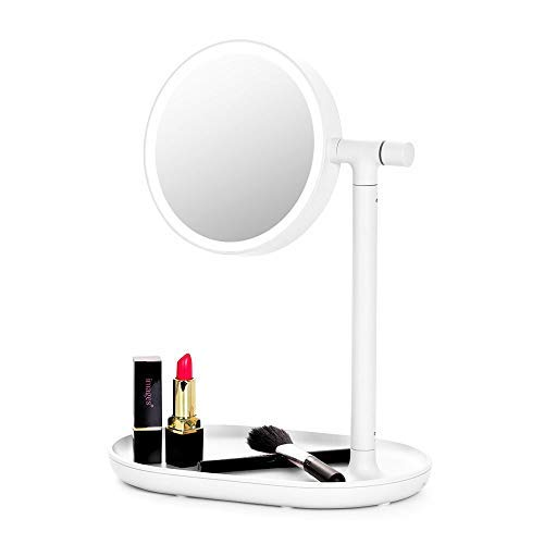 Lighted Makeup Mirror Mirror with Cosmetic Organizer Tray, 1x 3x Magnification, USB Charging, 270- Degree Adjustable LED Light Makeup Vanity for Desk or Tabletop – White