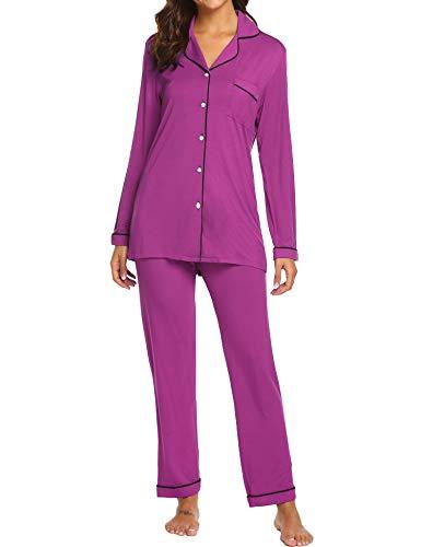 Ekouaer Plus Size Nighty Set Women's Stretchy Pajamas Long Sleeve Sleepwear Nightwear (Wineberry,XXL) Cotton Plus Size Pajama Set