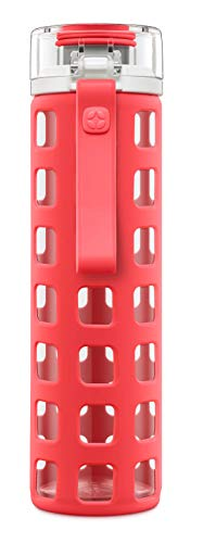 Ello Syndicate Glass Water Bottle with One-Touch Flip Lid | 20 oz | Coral