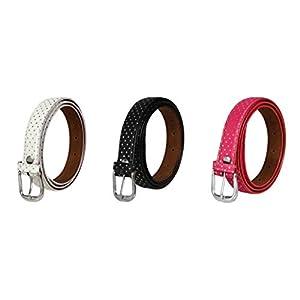 SIDEWOK Women's Vegan Leather Belt (Pack of 3)