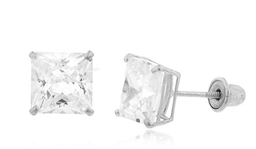 14K White Gold Screwback Earrings Square Cubic Zirconia Studs, 7mm (GO-1739)