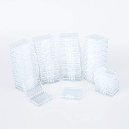 42 Pack Square Mini Clear Plastic Storage Containers Box with Closed Switch lid for Small Items 2.3x1.8x0.65 Inches