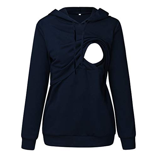 Maternity Hoodie Top,Crytech Women Long Raglan Sleeve Solid Color Patchwork Layer Nursing Hooded Pullover Sweatshirts for Breastfeeding Pregnancy Casual Sporty Feeding T-Shirt (2X-Large, Navy)