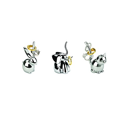 Modern Bunny (Umbra Zoola Ring Holders, Set of 3 – Modern Ring Holder – Metal Plated Bunny, Cat and Elephant Silver Ring Holders –Great for Bonbonnieres, Party Favors, Silver Finish)