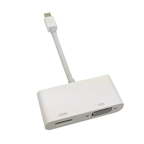 Cablecc Mini DisplayPort Thunderbolt to VGA & HDMI Adapter cable 2 in1 for Apple MacBook & Air & Pro & iMac by cablecc