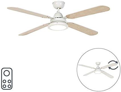 QAZQA Moderno Ventilador de techo blanco con control remoto - Fanattic Acero/Madera Redonda Incluye LED Max. 1 x 12 ...