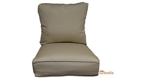 Sunbrella Antique Beige Cushion Set for Indoor / Outdoor Deep Seat Furniture Chair - Choose Size (Seat Cushion 25
