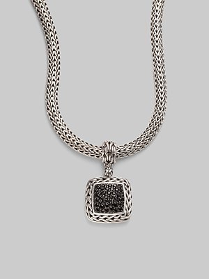 John Hardy Black Sapphire and Sterling Silver Medium Square Enhancer - Black (John Hardy Black Sapphire)