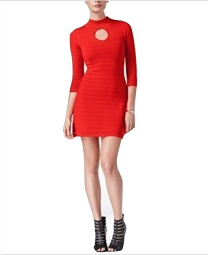 - GUESS Womens Guia Ribbed Knit Keyhole Bodycon Dress Red L