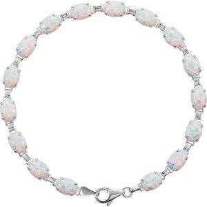 14K Blanc Bracelet en Opale Line