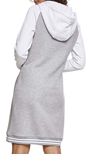 Ladies Hooded Classics Para Contrast Vestido Multicolor Mujer Urban 00132 gry Dress College wht q54IFIdw
