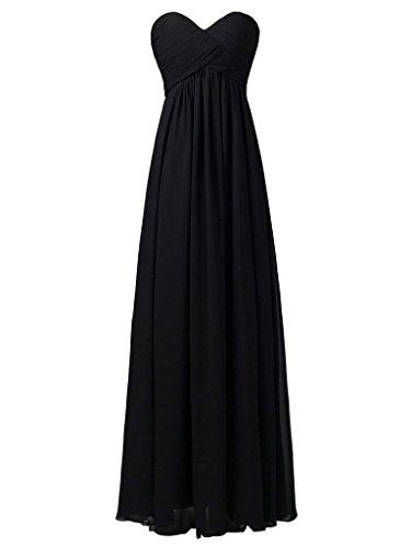 JAEDEN Sin tirantes de vestidos de noche de baile vestido de dama de honor larga plisada gasa Negro