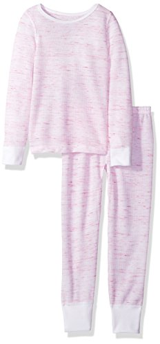 Fruit of the Loom Big Girls' Waffle Thermal Underwear Set, Magenta Quartz Blur, 6/6X