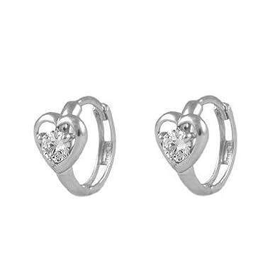 1b084ee8f Amazon.com: Baby 14K White Gold Heart Simulated April Birthstone Huggie Hoop  Earrings: Jewelry