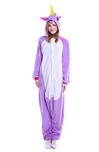 Costumes To Match With Your Boyfriend (ZUNZHU Adult Unicorn Pajamas Animal Costume Cosplay Onesie Halloween Gift Purple S)