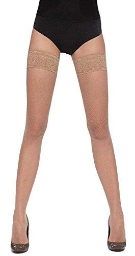 Bas Bleu - Medias altas (alta calidad, tallas: S, M y L, con liguero sobre las rodillas), diseños diferentes, colores surtidos Sara Natural