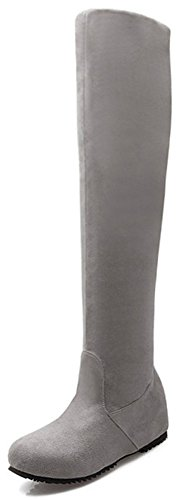 Easemax Women's Elegant Faux Suede Round Toe Low Wedged Hidden Heel Pull On Above Knee High Boots Grey O0FOol