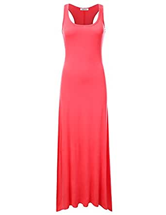 NINEXIS Women's Sleeveless Tank Top Style Maxi Dress CORAL 3XL